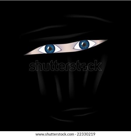 Eyes behind burkha - stock vector