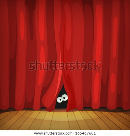 Eyes Behind Red Curtains On Wood Stage/ Illustration of funny cartoon human, creature or animal character's eyes hiding and looking from behind red curtains in theater wooden stage - stock vector