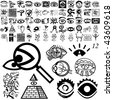 Eyes set of black sketch. Part 101-12. Isolated groups and layers. - stock photo