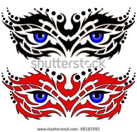 Eyes, tribal tattoo - stock vector