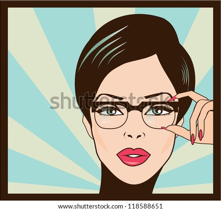Eyewear glasses woman closeup portrait. - stock vector