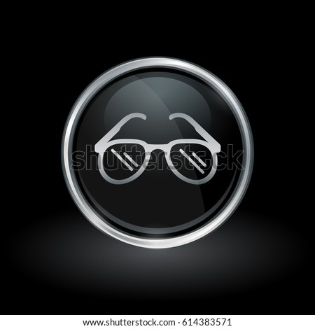 sunglasses on glasses hi8e  Eyewear symbol with sunglasses icon inside round chrome silver and black  button emblem on black background