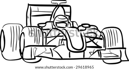 F1 car outlined - stock vector