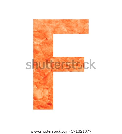 f letter with texura shaped brown earth or stone