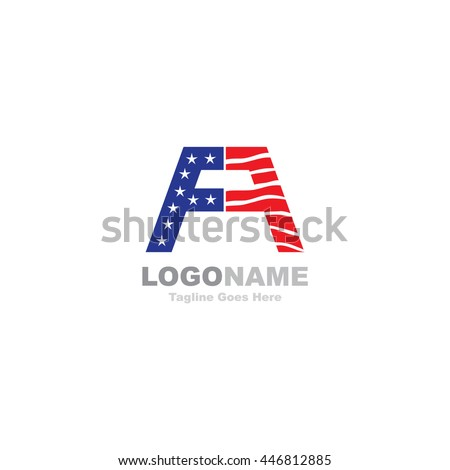 fa letter with usa flag logo