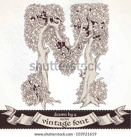Fable forest hand drawn by a vintage font - M - stock vector