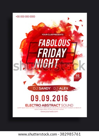 Fabolous Friday Night Party celebration Flyer, Banner or Pamphlet with abstract design. - stock vector