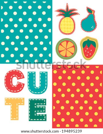 fabric application, fruits patches and dotted background