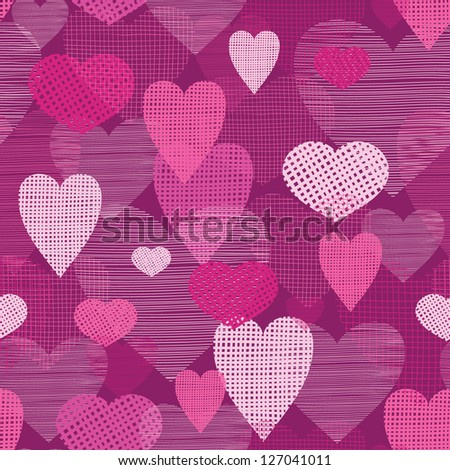 Fabric hearts romantic seamless pattern background - stock vector