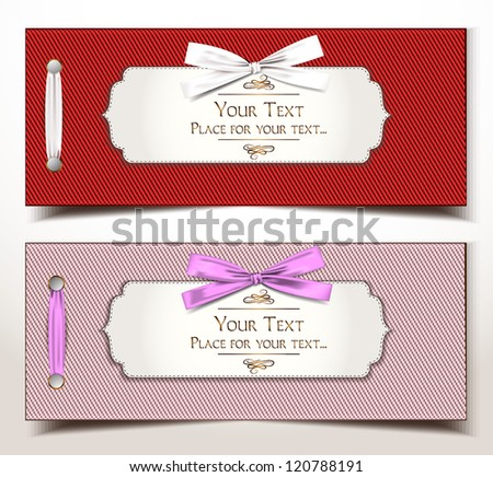 Fabric textile gift cards with silk ribbons - stock vector