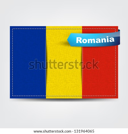 Fabric texture of the flag of Romania with a blue bow.