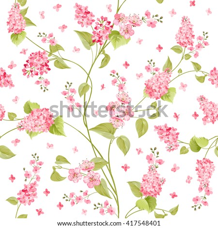 Fabric texture pattern with seamless flowers. The floral seamless pattern over light background. Flower pattern of purple hydrangea flowers over white background. Lilac flowers. Vector illustration.