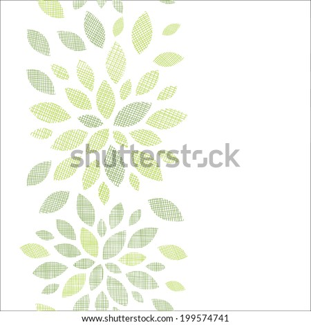 Fabric textured abstract leaves vertical seamless pattern background - stock vector