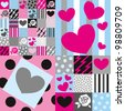 fabric with roses and hearts - stock vector