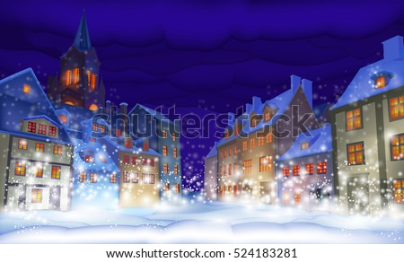 fabulous snow-covered town in the Christmas night