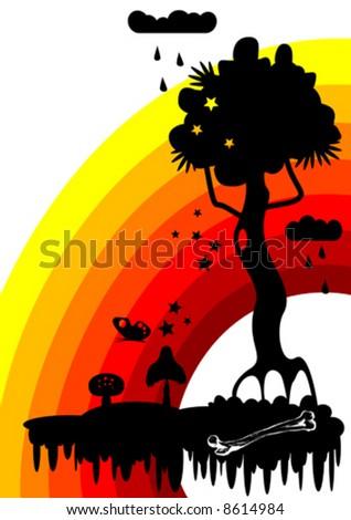 fabulous tree vector - stock vector