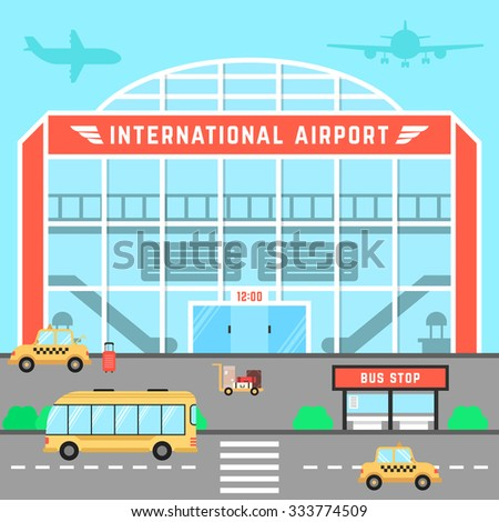 facade airport with bus stop. concept of infrastructure, aerodrome, flight arrival, airliner, transit, voyage, flight control, traffic, transfer. flat style trend modern design vector illustration - stock vector