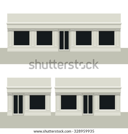 Facade building. Front of house. Template for outdoor advertising. Vector detailed illustration. Isolated on white background. - stock vector