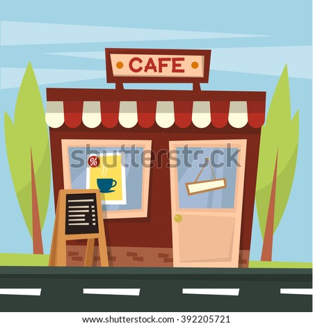 Facade of a retro cartoon coffee shop store or cafe near the road . Trees. Summer. Vector illustration - stock vector