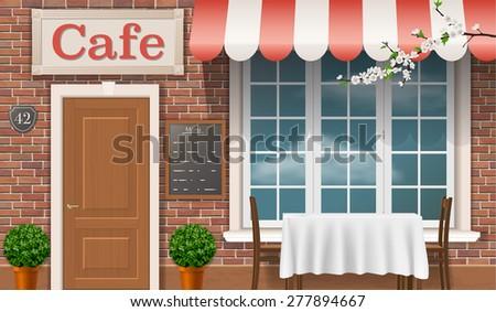 Facade Traditional Cafe Window Door Awnings 277894667