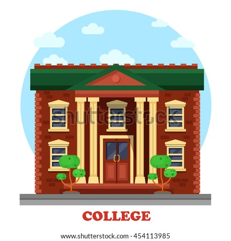 Facade of national college campus for secondary or higher education. Side view on degree awarding educational institution with windows and columns, bushes or trees - stock vector