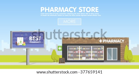 Facade of Pharmacy storefront in the urban space, the sale of drugs and pills. Billboard advertising from pharmacies. Template concept for the website, advertising and sales.  - stock vector