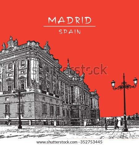 Facade of the Royal Palace in Madrid, Spain. City scape with street lights and red sky. Vector illustration in vintage style. - stock vector