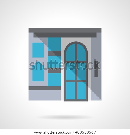 Facade with glass door and a showcase. Commercial building for business and marketing. Storefronts and showcases. Flat color style vector icon - stock vector