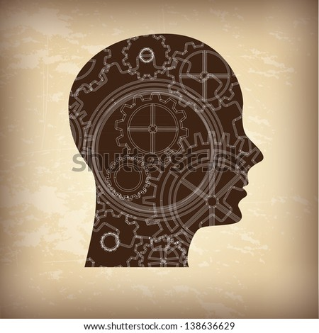 Face and gear over vintage background vector illustration