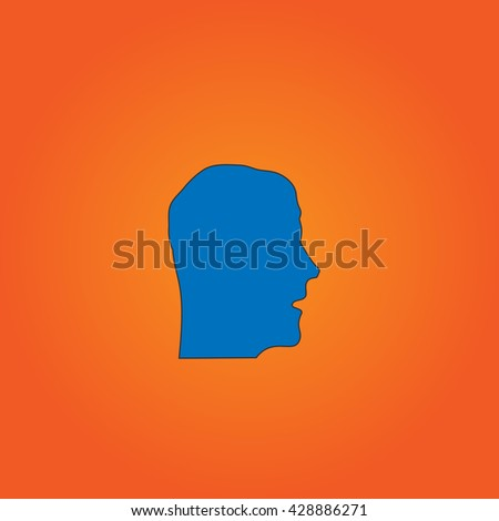 Face. Blue flat icon with black stroke on orange background. Collection concept vector pictogram for infographic project and logo