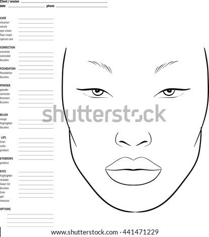 makeup face charts to
