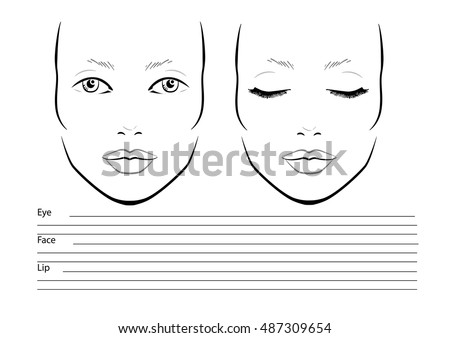 Face chart makeup artist blank template stock vector 487309654 face chart makeup artist blank template vector illustration pronofoot35fo Gallery