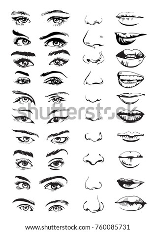 Face constructor with different face parts: eyes, lips and noses. Hand drawn set. Vector illustration