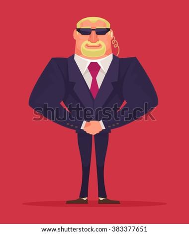 Face control. Security man. Vector cartoon illustration - stock vector