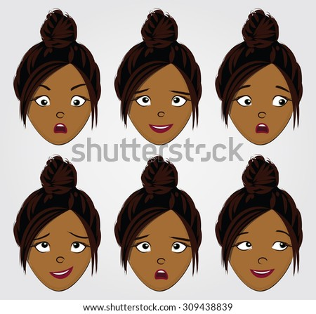 Face expressions set for a black girl with bun hair - stock vector