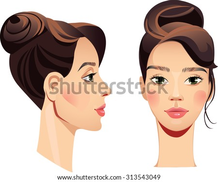 face girl in straight and profile - stock vector