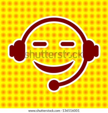 Face Head phone On Yellow Background - stock vector