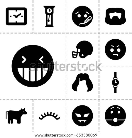 Face icon. set of 13 filled faceicons such as cow, man hairstyle, hairstyle, eyelashes, laughing emot, angry emot, american football helmet, wrist watch, pendulum