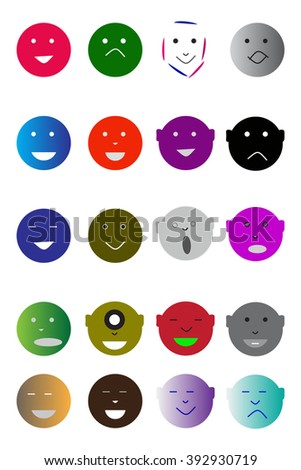 face Icons Color Line series