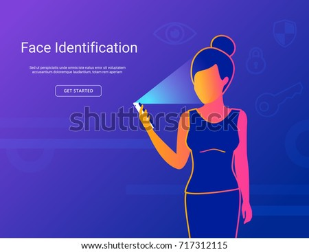 Face identification of young woman. Gradient line vector illustration of woman holds smartphone in her hand for getting access to device via face recognition technology.