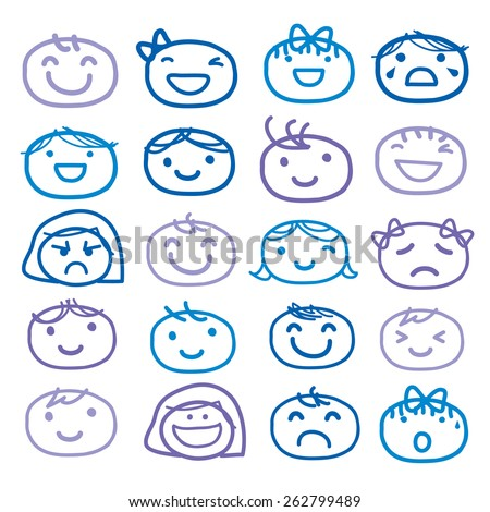 Face Kids Draw Emotion Feeling Icon Cute Cartoon Vector Design - stock vector