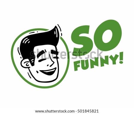 Face Laughing Man Logotype Set So Funny