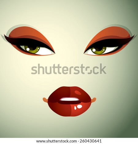 Face makeup, lips and eyes of an attractive woman displaying anger. Facial emotional expression. - stock vector