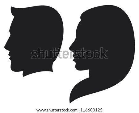 face man and woman (silhouette head of a man and woman, face man and girl) - stock vector