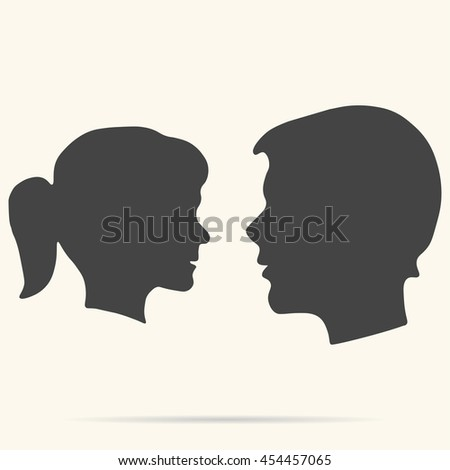 face man and woman vector profiles on white background with shadow.