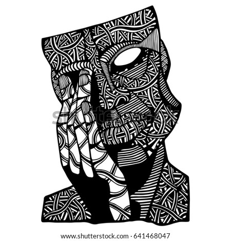Face Man Doodle Art Coloring Page For Adult