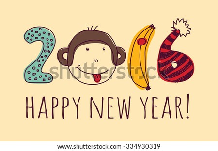 Face monkey happy new year greeting card. Monkey with sign greeting new year card. Vector illustration. EPS8 - stock vector