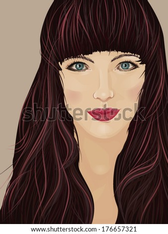 Face of a beautiful brunette woman with self-confident attitude - stock vector