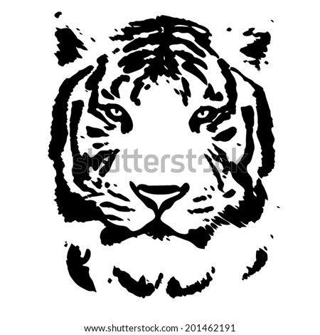 Face of a white bengal tiger, isolated on white background. Amazing mask of the biggest cat. Wild beauty of the most dangerous and mighty beast of the world. Black and white vector image. - stock vector