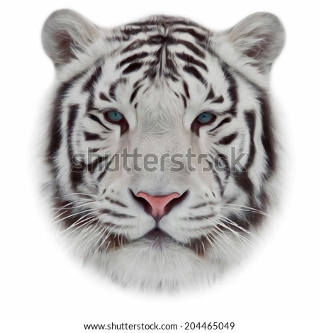 Face of a white bengal tiger, isolated on white background. Mask of the biggest cat of the world. Wild beauty of the most dangerous and mighty beast. Amazing vector image in oil painting style. - stock vector